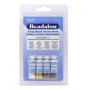 Beadalon Quetschperlen Pack (1.3mm) Silber, Gold, Copper, Hematite