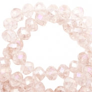 Top Glas Facett Perlen 8x6 mm disc Rose morn pink-pearl high shine coating