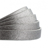 Flach 10 mm Imitat Leder Metallic-dark grey