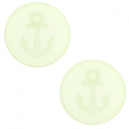 12 mm flach Cabochon Polaris Elements Anker Relaxing green