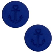 12 mm flach Cabochon Polaris Elements Anker Cobalt blue