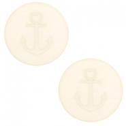 20 mm flach Cabochon Polaris Elements Anker Cloud cream white
