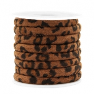 Trendy gesteppte Kordel Leopard Print 6x4mm Walnut brown