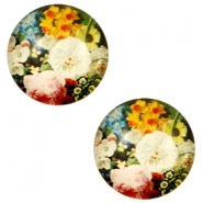 Cabochon Basic 12mm Flowers-multicolour pink