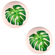 Cabochon Basic 12mm Tropical palm leaf-creamy peach