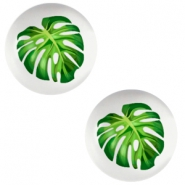 Cabochon Basic 12mm Tropical palm leaf-light grey