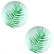 Cabochon Basic 20mm Fern leaf-light turquoise blue