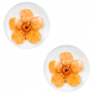 Cabochon Basic mit getrockneter Blume 12mm Orange