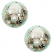 Cabochon Basic mit Muscheln 20mm Turquoise green