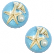 Cabochon Basic mit Seestern 20mm Paradise blue