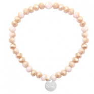 Facett Glas Armbänder Sisa 6x4mm (Anhänger RVS) Light rose-rosegold half pearl top shine coating