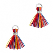 Perlen Quaste 1cm Silber-Multi colour red blue