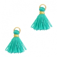 Perlen Quaste 1cm Gold-Mint leaf green