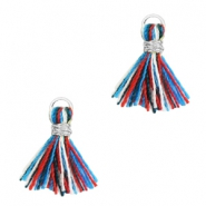 Perlen Quaste 1cm Silber-Multicolour red blue