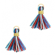 Perlen Quaste 1cm Gold-Multicolour red blue