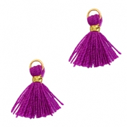 Perlen Quaste 1cm Gold-Electric purple violet