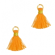 Perlen Quaste 1cm Gold-Flame orange