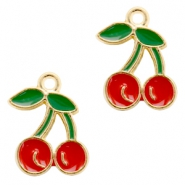 Basic quality Metall Anhänger cherry Gold-red green