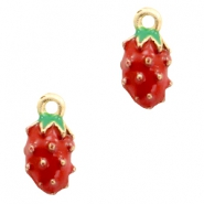 Basic quality Metall Anhänger strawberry Gold-red green