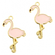 Basic quality Metall Anhänger flamingo Gold-light pink