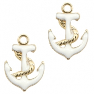 Basic quality Metall Anhänger anchor Gold-white