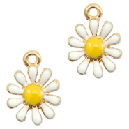Basic quality Metall Anhänger daisy Gold-white