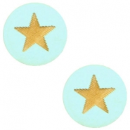 Holz Cabochon Star 12mm Turquoise