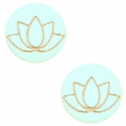 Holz Cabochon Lotus 12mm Turquoise