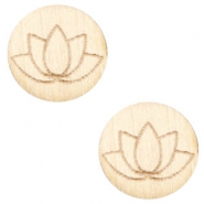 Holz Cabochon Lotus 12mm White wood (natürliche Farbe Holz)
