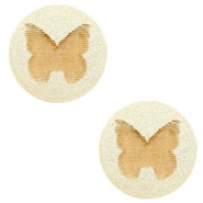 Holz Cabochon Schmetterling 12mm Champagne metallic