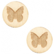 Holz Cabochon Schmetterling 12mm White wood (natürliche Farbe Holz)