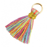 Perlen Quaste 1.8cm Gold-Multi colour red purple