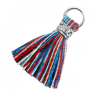 Perlen Quaste 1.8cm Silber-Multi colour red blue