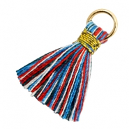 Perlen Quaste 1.8cm Gold-Multi colour red blue