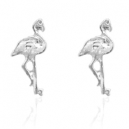 Trendy Ohrringe Nieten Flamingo Silber