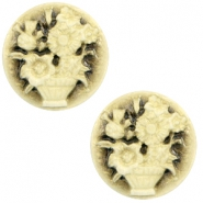 Cabochon Basic Camee 20mm Blumenstrauss Black-antique gold