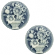Cabochon Basic Camee 20mm Blumenstrauss Dark blue-off white