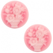 Cabochon Basic Camee 20mm Blumenstrauss Pink-white