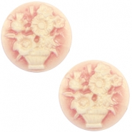 Cabochon Basic Camee 20mm Blumenstrauss Vintage rose-antique gold