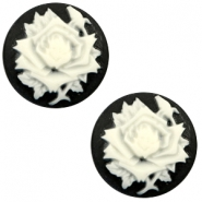Cabochon Basic Camee 20mm Rose Black-white