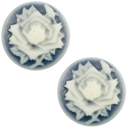 Cabochon Basic Camee 12mm Rose Dark blue-off white