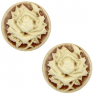 Cabochon Basic Camee 12mm Rose Brown-antique gold