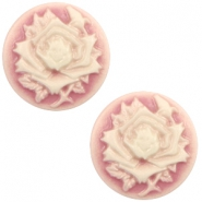 Cabochon Basic Camee 12mm Rose Vintage pink-off white