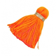 Perlen Quaste Ibiza Style 3.6cm Gold-bright neon orange