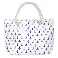 Fashion Tasche Beach bag Anchor White-dark blue