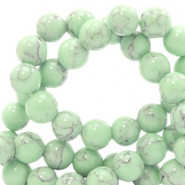 6 mm Naturstein Perlen rund Jade mit Marble look Light green