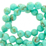 4 mm Naturstein Perlen rund Jade mit Marble look Turquoise light green