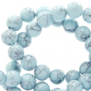 6 mm Naturstein Perlen rund Jade mit Marble look Light blue
