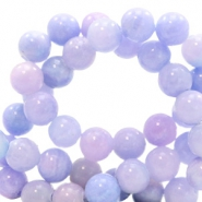 6 mm Naturstein Perlen rund Jade mit Watercolour look Lavender purple