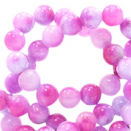 8 mm Naturstein Perlen rund Jade mit Watercolour look Mixed colours lavender-pink